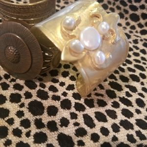 3 vintage style metal cuff bracelets